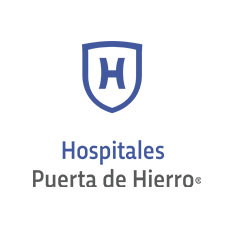 puerta de hierro logo hospitals isolated white background